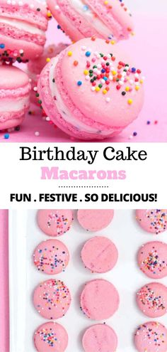 Learn how to make macarons! These birthday cake macarons are the perfect dessert for celebrations or for an anytime treat! They are pretty and pink and made with a birthday cake flavored filling and topped with sprinkles! Birthday Cake Flavors, Pink Birthday Cakes, Birthday Cake For Kids, Birthday Cake Cookies, Easy Birthday Desserts, Brithday Cake, Happy Brithday, Birthday Breakfast, Breakfast Cake