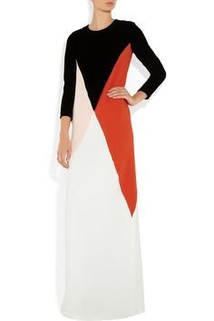 Stella McCartney | Color block velvet and crepe gown | NET-A-PORTER.COM