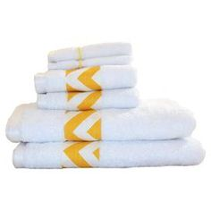 """Six-piece Egyptian cotton towel set with yellow chevron trim. Product: 2 Face towels, 2 hand towels and 2 bath towelsConstruction Material: 100% Egyptian cottonColor: White and yellowFeatures: 1-Ply constructionDimensions: Face towels: 13"""" x 13"""" each  Hand towels: 16"""" x 30"""" each Bath towels: 30"""" x 54"""" eachCleaning and Care: Machine washable"""