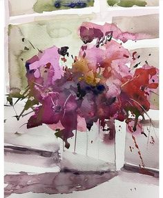 Watercolor by Luis Camara Watercolor Art Diy, Watercolor Art Paintings, Watercolor Artists, Watercolor Flowers, Watercolors, Art Floral, Art Abstrait, Abstract Flowers, Botanical Art