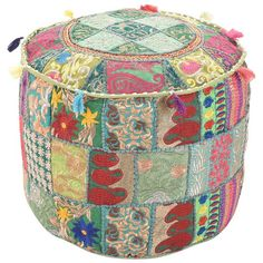 My Crafts Bohemian Patch Work Ottoman Cover,Indian Cotton Green Ottoman Cover,Traditional Vintage Indian Pouf Floor/Foot Stool Christmas Decorative Chair Cotton Art Decor Cushion, Pouf Ottoman, Green Ottoman, Ottoman Cover, Upholstered Ottoman, Floor Seating Cushions, Floor Pillows, Bean Bag Rounds, Turquoise Cushions, Floor Pouf