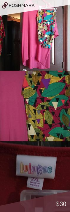 Lularoe Outfit This is an Irma legging outfit. The Irma is a light burgandy color and is a 2x. It does have piling on the chest area but a good sheering with a cloth shaver will do just fine. It matches these very pretty fall/ winter leggings. The colors are a burgandy background with leaves of mustard and turquoise with some black accents. Leggings are in great used condition. Very cute outfit. LuLaRoe Pants Leggings