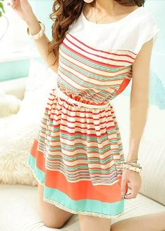 Women's Striped Chiffon Dress