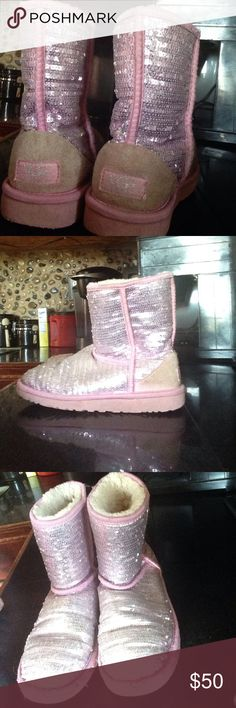 UGGS Size 4, sparkly pink Uggs Australia. CLASSICAL SHORT pink sequin boots UGG Shoes Ankle Boots & Booties