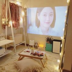 Chill and cozy home cinema idea! No need an expensive projector, you can make it simple on the wall at home ! Home movie theater room Army Room Decor, Study Room Decor, Room Ideas Bedroom, Small Room Bedroom, Bedroom Decor, Minimalist Room, Aesthetic Room Decor, Cozy Room, Dream Rooms