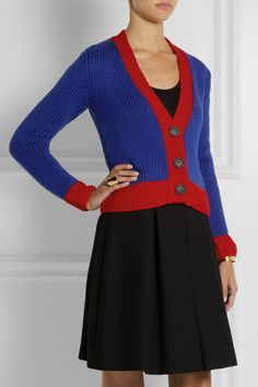 Miu Miu - Two-tone wool cardigan Cashmere Cardigan, Wool Cardigan, Fall Winter Outfits, Miu Miu, Knitting, Sweaters, Fashion, Moda, Tricot