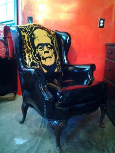 FRANKENSTEIN CHAIR REPURPOSED-- from vintage chair , one of a kind, themed,art chair,easy chair,hand painted chair, black This one is sold!! by Emmanddoubleyas on Etsy https://www.etsy.com/listing/173735424/frankenstein-chair-repurposed-from