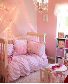 Fairy lights and pink baby girl room :D