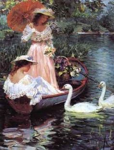 (Russia) by Konstantin Razumov ). Victorian Paintings, Victorian Art, Victorian Women, Paintings I Love, Beautiful Paintings, Renaissance Kunst, Foto Poster, Classical Art, Swans
