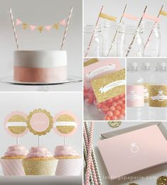 Bridal Shower Decorations // Printable // Pink & Gold Collection on Etsy, My Bridal Shower, Gold Bridal Showers, Baby Shower, Pink Und Gold, Navy Pink, Ideas Para Organizar, Shower Inspiration, Gold Party, Bridal Shower Decorations