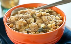 """Slow Cooker White Chili - """"cauliflower turns into the surprisingly creamy base for this white bean and chicken chili with mild poblano peppers. Chili Recipes, Slow Cooker Recipes, Crockpot Recipes, Chicken Recipes, Cooking Recipes, Slow Cooking, Soup Recipes, Fall Recipes, Dinner Crockpot"""