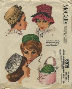 Vintage Sewing Pattern for Smocked Hats | McCall's 6515 | Year 1962 | Head Size 21½ - 22½