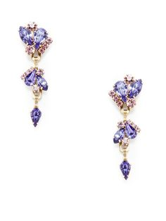 Elizabeth Cole  Purple Crystal Navette Drop Earrings