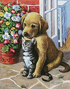 Labrador Pup and Kitten - Dogs cross stitch pattern designed by Tereena Clarke. Category: Cats.