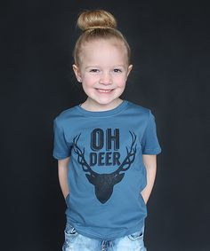 Loving this The Talking Shirt Steel Blue 'Oh Deer' Tee - Toddler & Kids on #zulily! #zulilyfinds