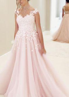 Elegant Pink Formal Evening Dress, Appliques A Line