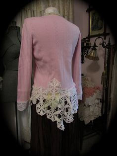 Shabby Pink Sweater romantic shabby n chic by TatteredDelicates