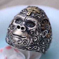 cb5385c4147a a plata esterlina solida 925 gorila silverback rey mono mono calavera  cabeza anillo Collar Africano