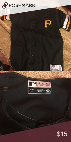 Pirates black button up jersey Pirates jersey, Youth medium but fits like a women's XS/S. has nothing on the back and was never worn! Shirts & Tops Tees - Short Sleeve