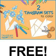 2 Tangram Sets to color. www.tangram-channel.com... Tangram Puzzles, The Fold Line, Flat Shapes, A4 Paper, To Color, Teacher Newsletter, Teacher Pay Teachers, Ballpoint Pen, Diy Cards
