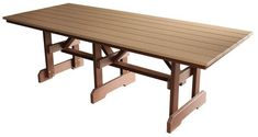Made from recycled plastic. Outdoor poly wood dining tale with planked top. Made in the USA.