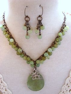 Stunning Handmade Jade Butterfly Necklace and Earrings $48.00