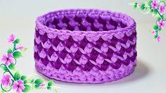 МК Корзина крючком из трикотажной пряжи. Basket crochet DIY