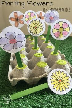 Planting Flowers Fine Motor Practice and more! (Free printable)