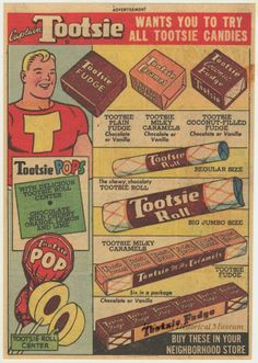 tootsie roll vintage ads | 1948 ad for Tootsie Rolls, showing Captain Tootsie. (Hoboken ...