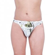 267e05b57 Designer Green Newsprint Thong Style Underwear