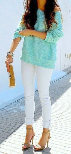 mint sweater + white skinnies + heels