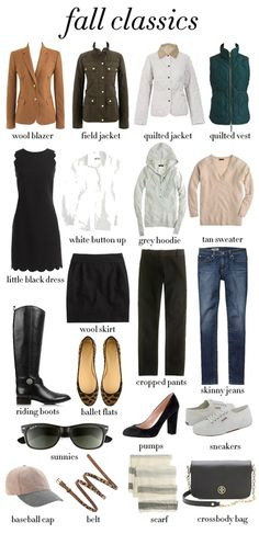 Preppy Fashion basics -- minus the riding boots, pumps, baseball hat, purse, quilted jacket.