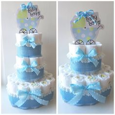 2 Tier Blue Baby Boy Diaper Cake Baby Shower by BabycakingBoutique