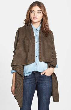 Love Fate Destiny Faux Suede Sleeve Long Cardigan available at #Nordstrom