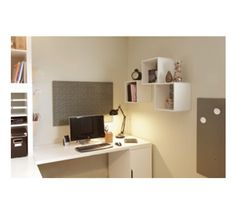 Wall Storage...Ikea cubes get stuff off the desk but still within reach.  #storage #homeoffice #reno www.nicheredesign.com