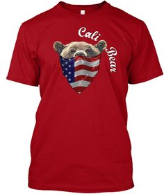 Cali Bear Deep Red T-Shirt Front