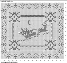 Page 1 of 2 Santa's Sleigh Crochet Applique Patterns Free, Filet Crochet Charts, Crochet Cross, Crochet Diagram, Crochet Christmas Decorations, Christmas Crochet Patterns, Holiday Crochet, Christmas Knitting, Xmas Cross Stitch