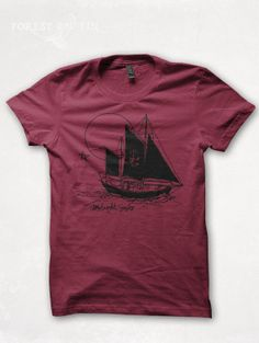 Mens TShirt Sailing Graphic Tee Sailor Sailboat by forestandfin, $26.00
