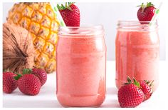 This mouth watering Pineapple, Strawberry & Coconut Water Smoothie is a refreshing tropical drink suitable for any occasion. Coconut Water Smoothie, Kitchen Recipes, Vegan Gluten Free, Smoothie Recipes, Pineapple, Strawberry, Fruit, Food, Pinecone