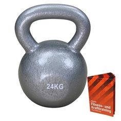 Kugelhantel Gusseisen Kettlebell in Profiqualität 24 kg von BB Sport mit Anwendungsbroschüre Fitness Hanteln Kettlebells