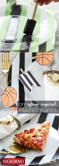 It's easy to slam dunk entertaining for basketball season with these easy DIY referee-inspired plates from our partner, @inspiredbycharm Supplies: DIGIORNO Original RISING CRUST pizza, white plates, paint, paintbrush, craft knife. 1. Tape stripes on plates. 2. Paint desired area. 3. Once paint is dry, use knife to help remove tape. 4. Cure plates in oven. 5. Bake Original RISING CRUST pizza per instructions. 6. Serve piping hot & crispy pizza on new festive plates. Enjoy!
