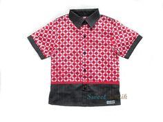 A combination of Batik and Tenun fabrics from Sweet Batik #Batik #Indonesia #Handmade #Kids_Clothes #Boy_Shirts
