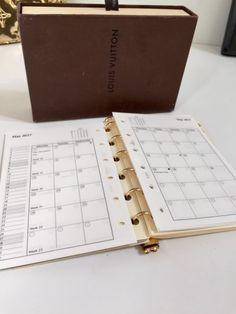 1ecc6197da6c 2018 Refill Calendar FITS LOUIS VUITTON SMALL Agenda Cover PM  Month on 2  Pages