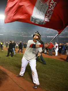 Can't wait for the 2014 season to start! Boston's Jonny Gomes waved a flag.