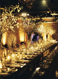 Wedding Receptions Romantic Candlelit Winter Wedding in Chicago, Glowing Reception Space - The mouthwatering menu is not what you'd expect at a black tie affair. Wedding Sand, Wedding Night, Wedding Reception Decorations, Wedding Flowers, Dream Wedding, Aisle Decorations, Tent Wedding, Gothic Wedding, Reception Table