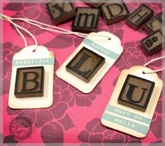 oooohhhhh.....we could do scrabble tiles just using the first letter...lets see-W:whiskey, V:vodka, G:gin, T:tequila.... DIY gift tags with LetterPress blocks