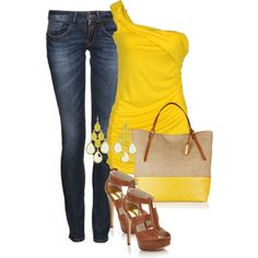 jeans and yellow tank by missyalexandra on Polyvore