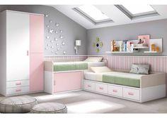 Habitación infantil con dos camas en blanco y rosa