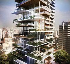 Image 2 of 6 from gallery of Edifício Itaim Proposal & FGMF Arquitetos. Courtesy of FGMF Arquitetos Architecture Design, Green Architecture, Facade Design, Futuristic Architecture, Sustainable Architecture, Residential Architecture, Amazing Architecture, Exterior Design, Condominium Architecture