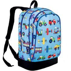 Wildkin Olive Kids Trains, Planes & Trucks Sidekick Backpack, Multicolor